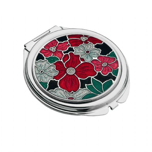 Compact Mirror Silver Plated Flower Floral Handbag Magnifying Travel Cosmetic